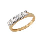 Кольцо Дорожка с фианитами, красное и белое золото