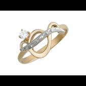 Кольцо Бесконечность с фианитами, красное и белое золото
