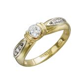 Кольцо с фианитами, желтое и белое золото