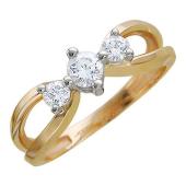 Кольцо с тремя фианитами, желтое и белое золото