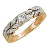 Кольцо Венок с фианитами из красного и белого золота 585 пробы
