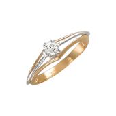 Кольцо Солитер с одним фианитом, красное и белое золото