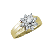 Кольцо Снежинка с фианитами, желтое и белое золото 585 проба