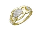Кольцо в середине овал с фианитами, по бокам два больших фианита, желтое и белое золото 585 пробы