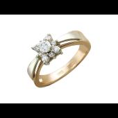 Кольцо Звезда с фианитами, красное и белое золото