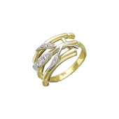 Кольцо Бамбук с фианитами, желтое и белое золото