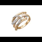 Кольцо Бамбук с фианитами, красное и белое золото