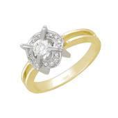 Кольцо с россыпью фианитов, желтое и белое золото