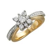 Кольцо Звезда с фианитами, желтое и белое золото