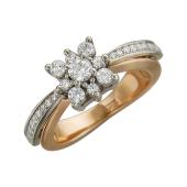 Кольцо Андромеда с фианитами, красное и белое золото