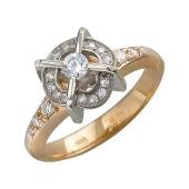 Кольцо с россыпью фианитов, красное и белое золото