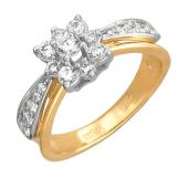 Кольцо с фианитами, красное и белое золото 585 проба