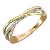 Кольцо Америка Тринити с фианитами, красное, белое и желтое золото
