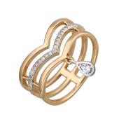 Кольцо тройное с дорожкой и каплей из фианитов, красное и белое золото