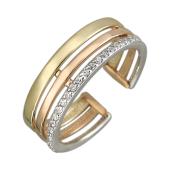Кольцо Тринити на ногу с фианитами, желтое, красное и белое золото
