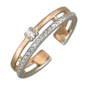 Кольцо Дорожка на ногу с фианитами, красное и белое золото
