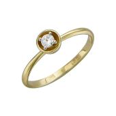 Кольцо с фианитом, желтое и белое золото