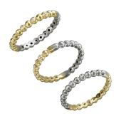 Кольцо двустороннее шарики с фианитами Дуэт, желтое и белое золото