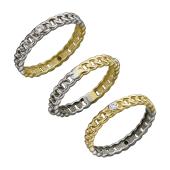 Кольцо Дуэт двустороннее якорное с фианитом, желтое и белое золото