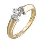 Кольцо Солитер с фианитом из желтого и белого золота