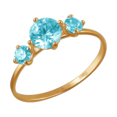 Кольцо с голубыми  фианитами из красного золота 585 пробы