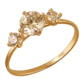 Кольцо с розовыми фианитами из красного золота 585 пробы
