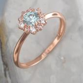 Кольцо Малинка с голубым и прозрачными фианитами из красного золота 585 пробы