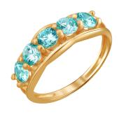 Кольцо Дорожка с голубыми фианитами из красного золота 585 пробы