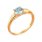 Кольцо с голубым фианитом Сваровски из красного золота 585 пробы