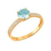 Кольцо с голубым фианитом Сваровски и фианитами из красного золота 585 пробы