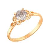 Кольцо с фианитом Сваровски цвета Шампань из красного золота 585 пробы