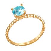 Кольцо с голубым фианитом из красного золота 585 пробы
