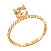 Кольцо с фианитом цвета Шампань из красного золота 585 пробы