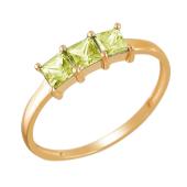 Кольцо с тремя зелеными квадратными фианитами, красное золото 585 проба