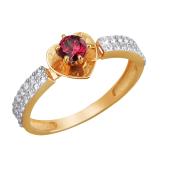 Кольцо Сердце с вишневым и прозрачными фианитами из красного золота 585 пробы