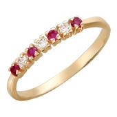 Кольцо с семью цветными камнями, красное золото