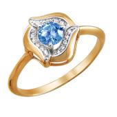 Кольцо Роза с синим фианитом и прозрачными фианитами из красного золота 585 пробы