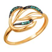 Кольцо Листок с наноизумрудами и фианитами из красного золота 585 пробы
