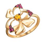 Кольцо Цветок с рубином и наноцитрином из красного золота 585 пробы