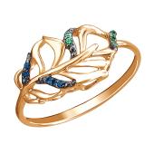 Кольцо Листок с наноизумрудом и наносапфиром из красного золота 585 пробы