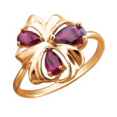 Кольцо Цветок с рубиновым корундом из красного золота 585 пробы