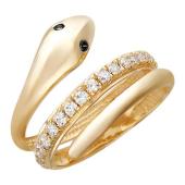 Кольцо Змея с черными глазами из красного золота 585 пробы