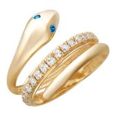 Кольцо Змея с синими глазами из красного золота 585 пробы