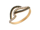"""Кольцо с черными и прозрачными фианитами, красное золото, """"Волна"""", 43 вставки"""