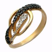 Кольцо с дорожками фианитов, красное золото, 32 вставки