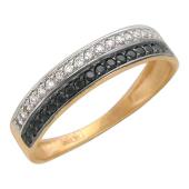 Кольцо Дорожка с черными и прозрачными фианитами, красное золото