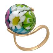 Золотое кольцо с круглым цветным Мурано, красное золото, 585 проба