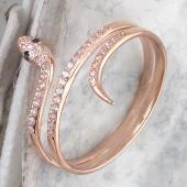 Кольцо Змея с черными и прозрачными фианитами, красное золото
