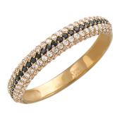 Красное золото, кольцо, дорожка из черного и бесцветного фианита