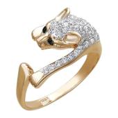 Кольцо Кошка Пантера с черными глазами и россыпью фианитов из красного золота 585 пробы